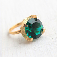 Vintage Emerald Green Stone Ring - 1970s Retro Gold Tone Adjustable Chunky Huge Green Statement Costume Jewelry