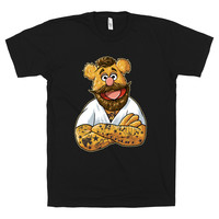 Hipster Fozzie on a Black T Shirt