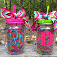 Large Monogrammed Chevron or Quatrefoil Mason Jar Tumbler with Handle