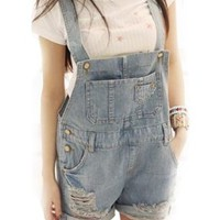 Vobaga Women's Striped Denim Distresses Front Flap Pocket Short Overalls