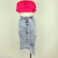 High Waist Acid Wash Frayed Jean Denim Pencil Skirt Skirt Sizes S-M-L