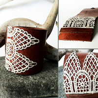 Leather Lace Cuff Bracelet for Women by CicadaLeatherDesigns