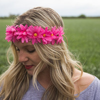 Pink Glitter Daisy Flower Crown