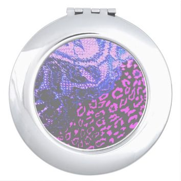 Fuschia and Black Lace Cheetah Print Compact
