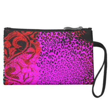 Fuchsia and Black Lace and Cheetah Print Wristlet