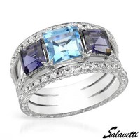 SALAVETTI Made In Italy Iolite Ring Designed In 18K White Gold - 			        	Festival Fashion Shop