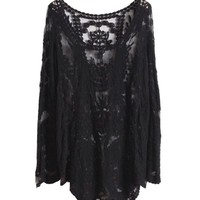 niceeshop(TM)Sheer Embroidery Floral Lace Crochet Long Sleeve Sweater T Shirt