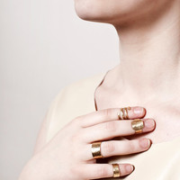 FYLGJA - Set of 4 adjustable brass rings - Gold minimal stacking rings set