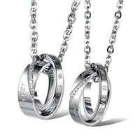 Cubic Zirconia Circles Necklaces Set for Best Friends