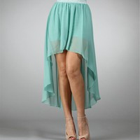 Mint Hi-Lo Chiffon Skirt with Shorts