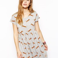 ASOS Smock Dress with Leaping Tiger
