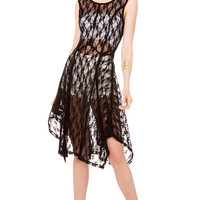 Sheer Lace Scoop Back Dress in Black
