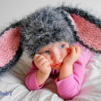 Grey Easter Bunny Hat-Super Soft and Comfy