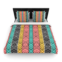 "Pom Graphic Design ""Artisian"" Pink Teal Fleece Duvet Cover"