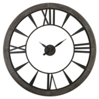 Uttermost 6084 Ronan Large Dark Rustic Bronze 60 Inch Diameter Round Wall Clock