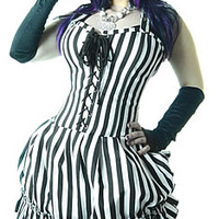 MERCEDES WHITE AND BLACK STRIPED DRESS Steampunk Gothic Alternative womens Tops Dresses