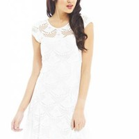 Cream Sweetheart Neck Laser Cut Dress