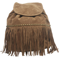 Faux Suede Fringe Boho Backpack | Wet Seal