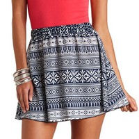 High-Waisted Tribal Print Skater Skirt - Navy Combo