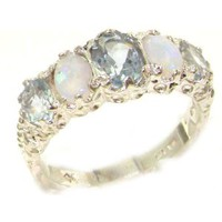 Luxury Ladies Victorian Style Solid Hallmarked Sterling Silver Aquamarine & Opal Band Ring - Finger Sizes 5 to 12 Available - Suitable as an Eternity ring, Engagement ring, Promise ring, Anniversary ring or Wedding ring