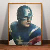 Captain America Print, Superhero Poster, Captain America wall art, Geometric heroes art, Comic Wall Art, Cartoon, 5x7, 8x10, 16x20