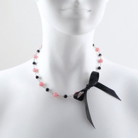 Pink & Black Necklace with Satin Bow made from Natural by Arthlin
