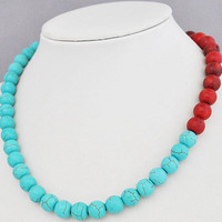 Coral Turquoise NecklaceStatement Necklace  1820 by GemPearls