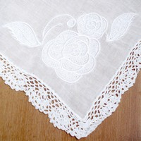 White Rose Embroidered Handkerchief Edged with Hand Crocheted Lace | PolkadotOrchid - Wedding on ArtFire
