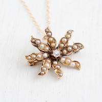 Antique 14k Yellow Gold Diamond and Pearl Edwardian Necklace - Vintage Starburst Floral Art Nouveau Flower Pendant Fine Jewelry