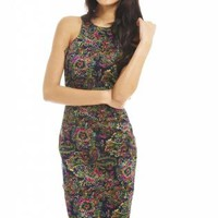 Multicolor Paisley Print Cut In Neck Dress