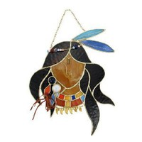 Stained Glass Native American Princess Wall Plaque Suncatcher