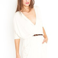 Draped Across Dress - Cream in  Clothes at Nasty Gal