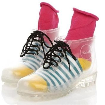 Anna&Zero® Fashion New Women Girls Transparent Martin Rain Boots Crystal Jelly Flats Waterproof Shoes