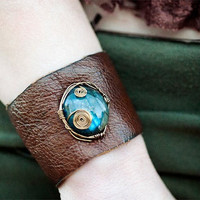 Upcycled leather Labradorite Corset Cuff by SpiritTribe on Etsy