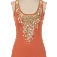Sequin Neck Slub Tank - maurices.com
