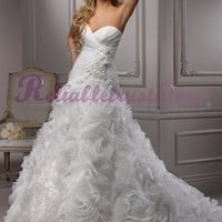 White A-line Sweetheart Organza Beach Wedding Dress-$255.97-ReliableTrustStore.com