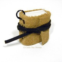 Mini Brown Suede Leather Journal Book Charm for Necklace or Key Chain | CraftyDayDreams - Paper/Books on ArtFire