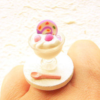 Miniature Food Ring Ice Cream Roll Cake Kawaii by SouZouCreations