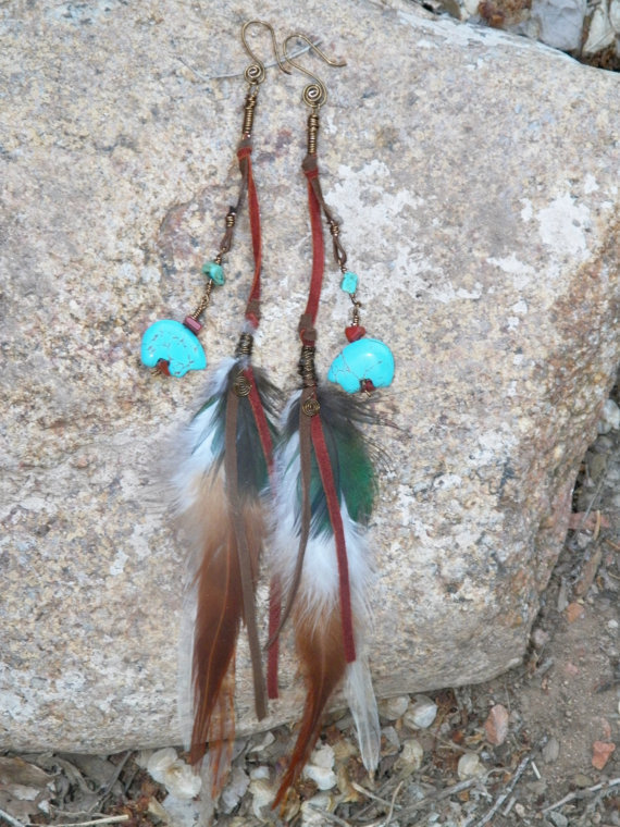 Spirit Bear Feather Earrings by SpiritTribe on Etsy