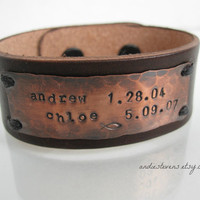 Leather and Rustic Copper Unisex Cuff by andiestevensdesigns