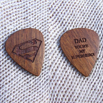 Superman Dad Exotic Mexican Granadillo Wood Handmade Guitar Pick