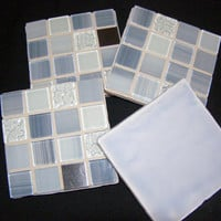 Blue Glass and Stainless Steel Coasters
