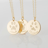 Your pets actual paw or nose print in 14k gold fill or .925 sterling silver - dog or cat memorial pendant necklace or bracelet Personalized