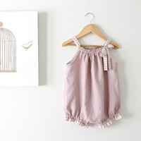 Baby Girl Linen Vintage Romper-Dusky Mauve and Stripe Trim-One Piece-Soft Grape-Bubble Romper-Handmade Children Clothing by Chasing Mini.