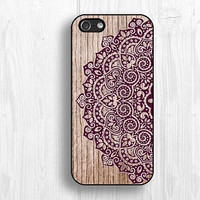 purple mandala iPhone 5s cases, IPhone 5S case,wooden printing IPhone 5c case ,IPhone 4 case,IPhone 4s case d019