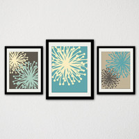 "Modern Floral Bursts. Set of Three. Blue. Brown. Yellow. Abstract. Whimsical. Living Room. Bedroom. Bathroom. Kitchen. 8.5x11"" Prints."