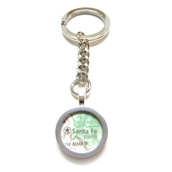 Santa Fe New Mexico Map Pendant Keychain