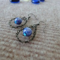 Royal Blue Earrings Beads Black Chain Sapphire | LittleApples - Jewelry on ArtFire