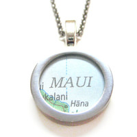 Maui Hawaii Map Pendant Necklace
