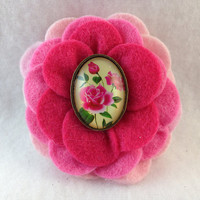 Multi-Colored Pink Felt Camellia Flower Hair Clip with a Vintage style Center